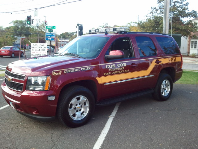 Car 201 is a 2012 Chevrolet Tahoe, driven by the District Chief.