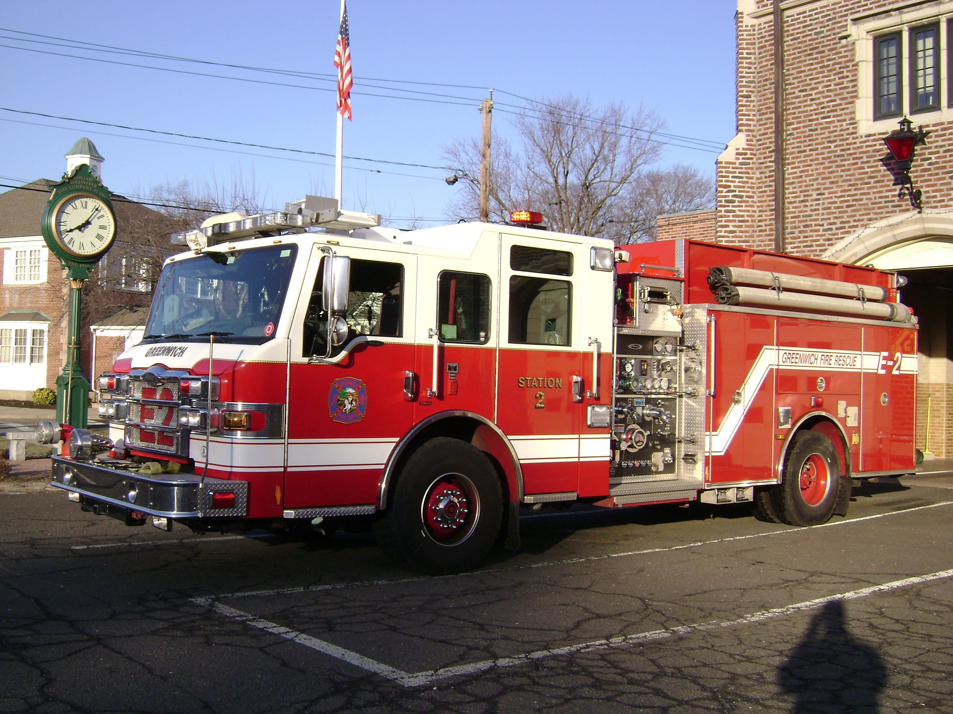 Engine 2 is a 2009 Pierce Enforce, fitted with a Hale pump, and has a 1,000 gallon tank capacity.